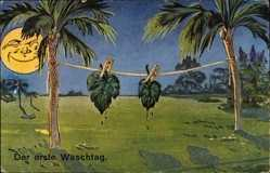Künstler Ak Adam und Eva, Der erste Waschtag, Feigenblätter, Mondgesicht