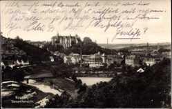 Ansichtskarte / Postkarte Nossen Landkreis Meißen, Gesamtansicht der Stadt, Schloss, Fluss