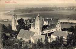 Ansichtskarte / Postkarte Strehla in Sachsen, Blick auf die Burg Strehla, Elbe, Giebel, Häuser