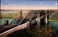 Ak Riesa an der Elbe Sachsen, Blick über die Elbbrücke