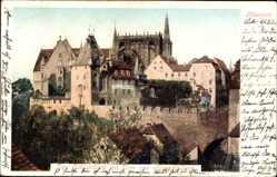 Ansichtskarte / Postkarte Meißen in Sachsen, Blick auf den Schlossberg mit Dom und Albrechtsburg