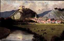Künstler Ak Brand, H. B., Riedenburg, Blick auf den Ort und ein Schloss, Felsen