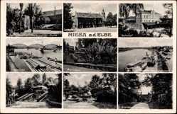 Postcard Riesa an der Elbe, Elbbrücke, Bahnhof, Stadtpark, Landungsplatz