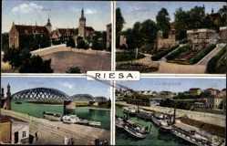 Ak Riesa an der Elbe, Elbbrücke, Landungsplatz, Rathaus, Stadtpark