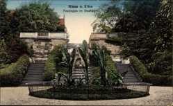 Postcard Riesa Elbe, Blick auf die Freitreppe im Stadtpark