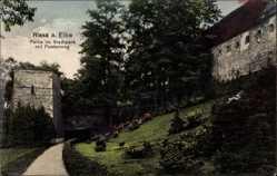 Postcard Riesa Elbe, Partie im Stadtpark mit Poetenweg