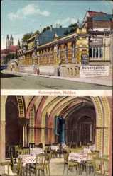 Ansichtskarte / Postkarte Meißen in Sachsen, Straßenpartie mit Blick auf den Kaisergarten, Innenansicht