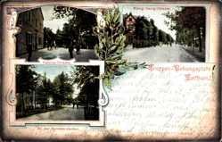 Ansichtskarte / Postkarte Zeithain in Sachsen, König Georg Straße, Fabrice Straße, Kommandantur