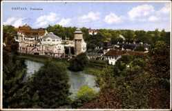 Postcard Piešťany Pistyan Pistian Slowakei, Panorama der Ortschaft, Wasserturm, Fluss