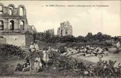 Postcard El Djem Thysdrus Tunesien, Gourbi et paturages autour de l'Amphitheatre