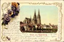 Passepartout Ak Regensburg an der Donau Oberpfalz, Stadtblick, Kirche