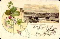 Präge Litho Mannheim, Blick auf die Neckarbrücke, Hufeisen, Marienkäfer
