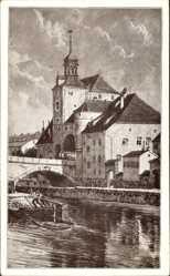 Künstler Ak Haseneder, J., Regensburg an der Donau Oberpfalz, Brücktor