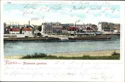 Postcard Riesa an der Elbe Sachsen, Blick auf den Ort von Promnitz gesehen