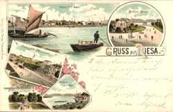Litho Riesa an der Elbe Sachsen, Strehlaer Straße, Dampfschiff Wartehalle