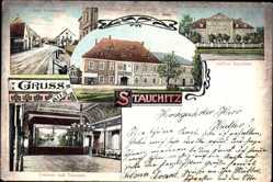 Ansichtskarte / Postkarte Stauchitz Landkreis Meißen, Alte Poststraße, Schloss, Gasthaus zur alten Post