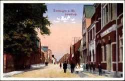 Postcard Dormagen am Rhein, Blick entlang der Hauptstraße, Personen