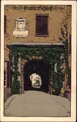 Steindruck Ak Eutin, Blick durch den Eingang zum Schloss