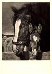 Künstler Ak Junghanns, Jul. Paul, Mutter und Sohn, Pferde, HDK 469