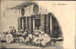 Postcard Cafe Maure, Männer vor einem Kaffee sitzend, Maghreb