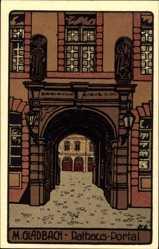 Steindruck Ak Mönchengladbach, Blick durch das Rathaus Portal