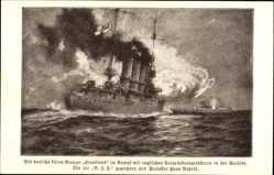 Künstler Ak Bohrdt, Hans, Deutsches Kriegsschiff, SM Stralsund, Kleiner Kreuzer
