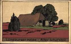 Steindruck Ak Lüneburger Heide, Blick auf einen alten Schafstall