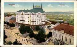 Postcard Belgrad Serbien, Terazia, Hotel, Straßenpartie, Teilansicht vom Ort