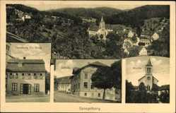 Postcard Spiegelberg, Kirche, Handlung Frau Guck, Schule