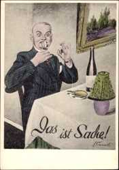 Künstler Ak Conrad, A., Das ist Sache, Mann, Zigarette, Flasche