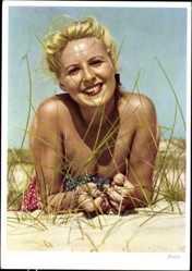 Ak Blonde Frau am Strand, Ferien, Badekleid, Gras, Sand