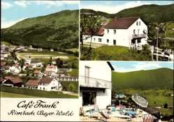 Postcard Rimbach im Kreis Cham Oberpfalz Bayern, Cafe Frank, Terrasse, Totalansicht