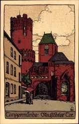 Steindruck Ak Tangermünde in Sachsen Anhalt, Partie am Neustädter Tor