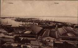 Postcard Odessa Ukraine, Blick in den Hafen, Schiffe, Lagerhallen