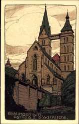 Steindruck Ak Esslingen am Neckar Baden Württemberg, Partie an Stadtkirche