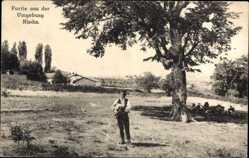 Postcard Niš Nisch Serbien, Partie aus der Umgebung, Bauernhöfe