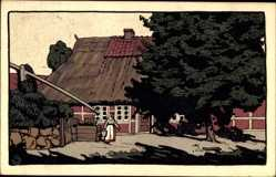 Steindruck Ak Lüneburger Heide, Dorfpartie, Ziehbrunnen, Bauernhaus