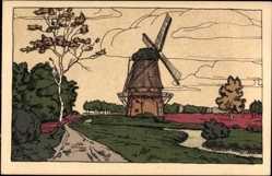 Steindruck Ak Lüneburger Heide, Am Mühlenbach, Windmühle