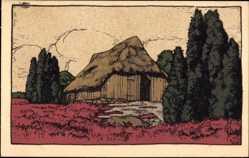 Steindruck Ak Lüneburger Heide, Alter Schafstall, Scheune