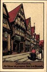 Steindruck Ak Osnabrück in Niedersachsen, Alte Häuser, Giebel, Bierstraße