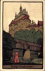 Steindruck Ak Kriebstein, Ansicht der Burg, Holzbrücke