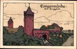 Steindruck Ak Tangermünde in Sachsen Anhalt, Am Burgplatz, Türme