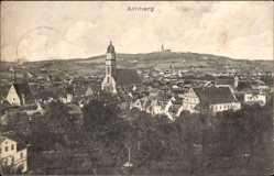 Postcard Amberg in der Oberpfalz Bayern, Totalansicht der Ortschaft, Kirche, Felder