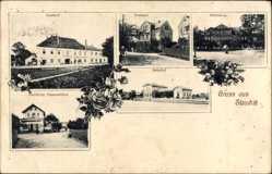 Ansichtskarte / Postkarte Stauchitz im Landkreis Meißen, Gasthof, Postamt, Schloss, Bahnhof, Dammköhler