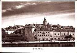 Postcard Korcula Kroatien, Teilansicht der Stadt, Turm am Fluss
