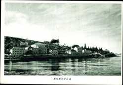 Postcard Korcula Kroatien, Blick vom Wasser zum Ort, Villen am Wasser