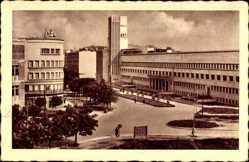 Postcard Novi Sad Újvidék Neusatz Serbien, Platz, Hochhaus