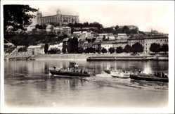 Postcard Poszony Pressburg Bratislava Slowakei, Hrad a nabrezje, Burg, Motorboote
