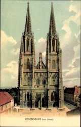 Postcard Regensburg an der Donau Oberpfalz, Blick auf den Dom, Westseite, Fassade