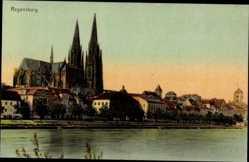 Postcard Regensburg an der Donau Oberpfalz, Flusspartie mit Blick auf den Ort